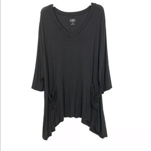 LOGO Lori Goldstein Black Pocket Tunic Top Size 2X